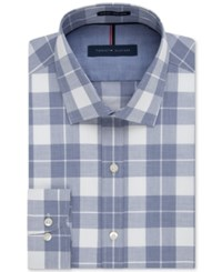 Tommy Hilfiger Men's Slim Fit Non Iron Blue Velvet Plaid Dress Shirt