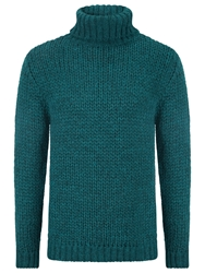 John Lewis Co. Made In Italy Oversized Roll Neck Jumper Natural Teal