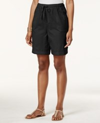 Karen Scott Tab Cuff Drawstring Shorts Only At Macy's Deep Black
