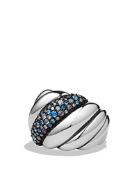 David Yurman Hampton Cable Ring With Gray Diamonds And Blue Sapphires Silver Multi
