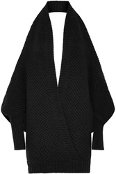 Chalayan Open Back Merino Wool And Cashmere Blend Sweater Black