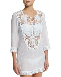 Miguelina Lee Crocheted Lace Coverup Dress Pure White