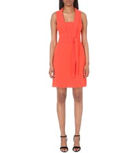 Karen Millen Tie Waist Crepe Dress Bright Orange