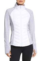 Zella Women's Zelfusion Reflective Quilted Jacket White Snow
