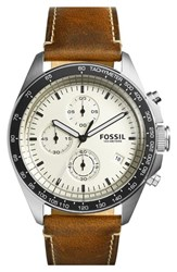 Fossil 'Sport 54' Chronograph Leather Strap Watch 44Mm