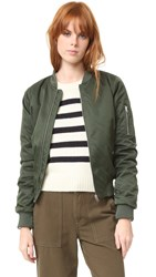 Bb Dakota Atwood Satin Bomber Jacket Army Green