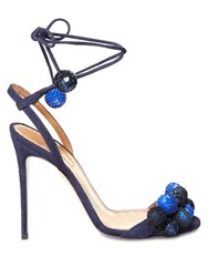 Aquazzura Disco Thing Sequinned Pompom Suede Sandals Navy Multi