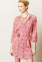 Anthropologie Preparation Shirtdress Red Motif