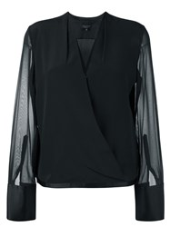 Rag And Bone V Neck Longsleeved Blouse Black