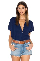 Heather Gauze Split Neck Top Blue