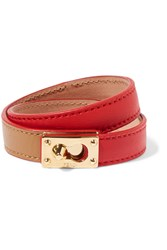 Fendi Gold Tone Leather Bracelet Red
