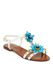 Dolce And Gabbana Jeweled Leather Flat Sandals Blue White