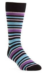 Lorenzo Uomo Men's 'Alternating Stripe' Socks Black Blue Purple