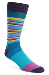 Bugatchi Men's 'Thin Stripe Bold Stripe' Socks Teal