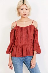 Angie Summer Nights Cold Shoulder Blouse Rust