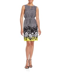 Ellen Tracy Floral Trimmed Drawstring Dress Black White Yellow