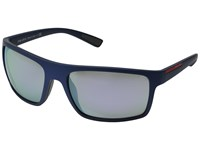 Prada Linea Rossa Ps 02Qs Shot Blue Rubber Grey Mirror Milky Blue Fashion Sunglasses