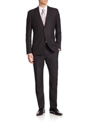 Burberry Stirling Two Button Wool Suit Navy Black
