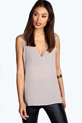 Boohoo Deep V Neck Sleeveless Tank Grey