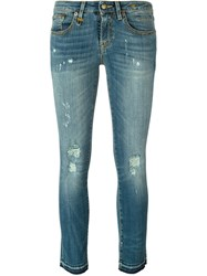 R 13 R13 Stretch Fabric Distressed Skinny Jeans Blue