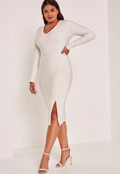 Missguided White Plus Size Bandage V Neck Long Sleeve Bodycon Dress