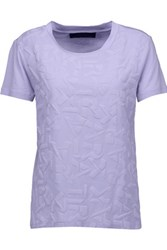 Karl Lagerfeld Textured Cotton And Modal Blend T Shirt Lavender