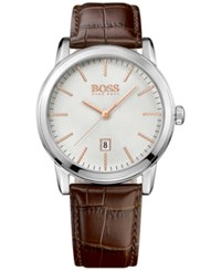 Hugo Boss Men's Classic 1 Brown Leather Strap Watch 40Mm 1513399
