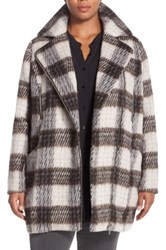 Junarose 'Palish' Brushed Plaid Coat Plus Size Beige