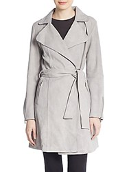 Dawn Levy Gisele Suede Trench Coat Grey