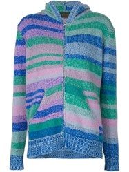 The Elder Statesman Striped Zipped Knit Hoodie Blue