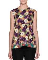 Marni Floral Print Empire Waist Top Curry