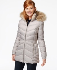 Inc International Concepts Faux Fur Hood Quilted Down Coat Pebble