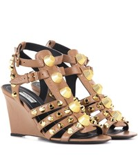 Balenciaga Arena Leather Wedge Sandals Beige