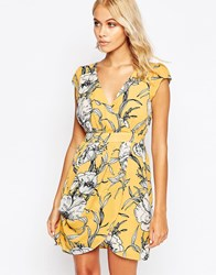 Traffic People Whisper Dress In Floral Print Yellow