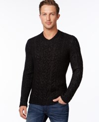 Calvin Klein Premium Chunky Cable Knit V Neck Sweater Dusty Black