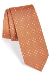 1901 'Eb' Silk And Cotton Dot Tie Orange
