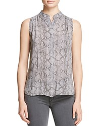 Bella Dahl Pleated Snake Print Blouse Grey Snake