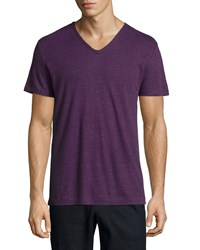 Vince Short Sleeve V Neck Tee Purple Women's