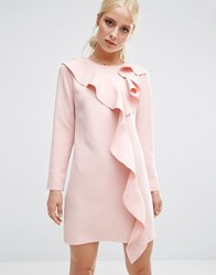 Asos Long Sleeve Shift Dress With Ruffle Front Blush Pink