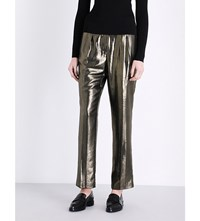 Elizabeth And James Hawke Straight High Rise Metallic Trousers Gold