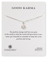 Dogeared Good Karma Lotus Flower Bracelet Sterling Silver