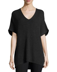 Vince Ribbed Knit V Neck Tunic Sweater Heather Carbon