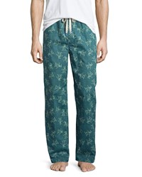 Penguin Logo Print Woven Lounge Pants Dark Teal Print