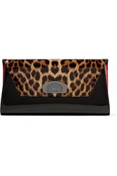 Christian Louboutin Vero Dodat Leopard Print Patent Leather Clutch Black