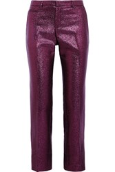 Christopher Kane Lame Slim Fit Pants Purple