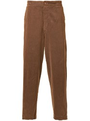 Cityshop Corduroy Tapered Trousers Brown