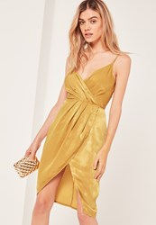 Missguided Yellow Petite Silky Strappy Wrap Over Midi Dress Chartreuse