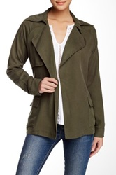 Michael Stars Tencel Long Sleeve Trench Green