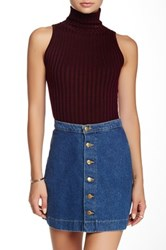 Cecico Ribbed Turtleneck Tank Red