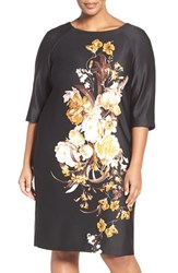 Gabby Skye Plus Size Women's Floral Print Midi Dress Black Multi